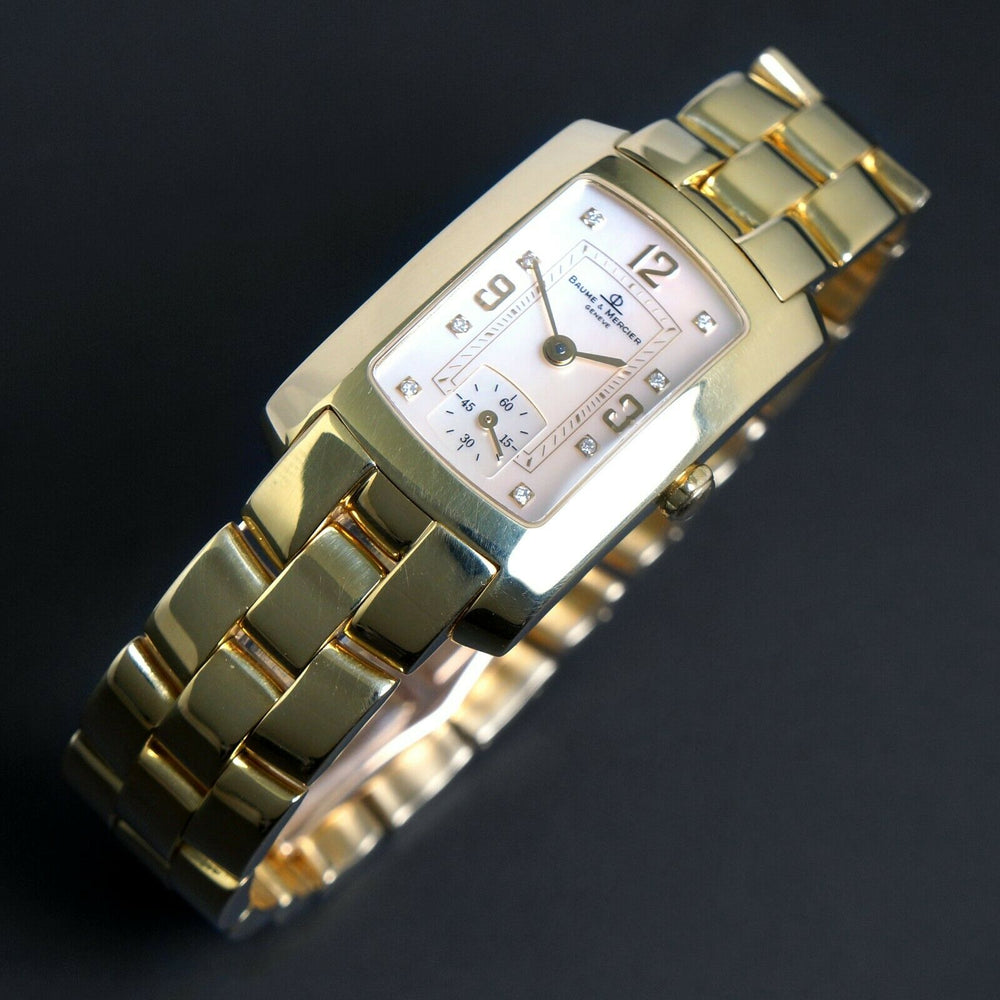 Baume & Mercier Hampton Mid Size 18K Yellow Gold MOP & Diamond Bracelet Watch Heavy, Solid 18K Gold, NEAR MINT!