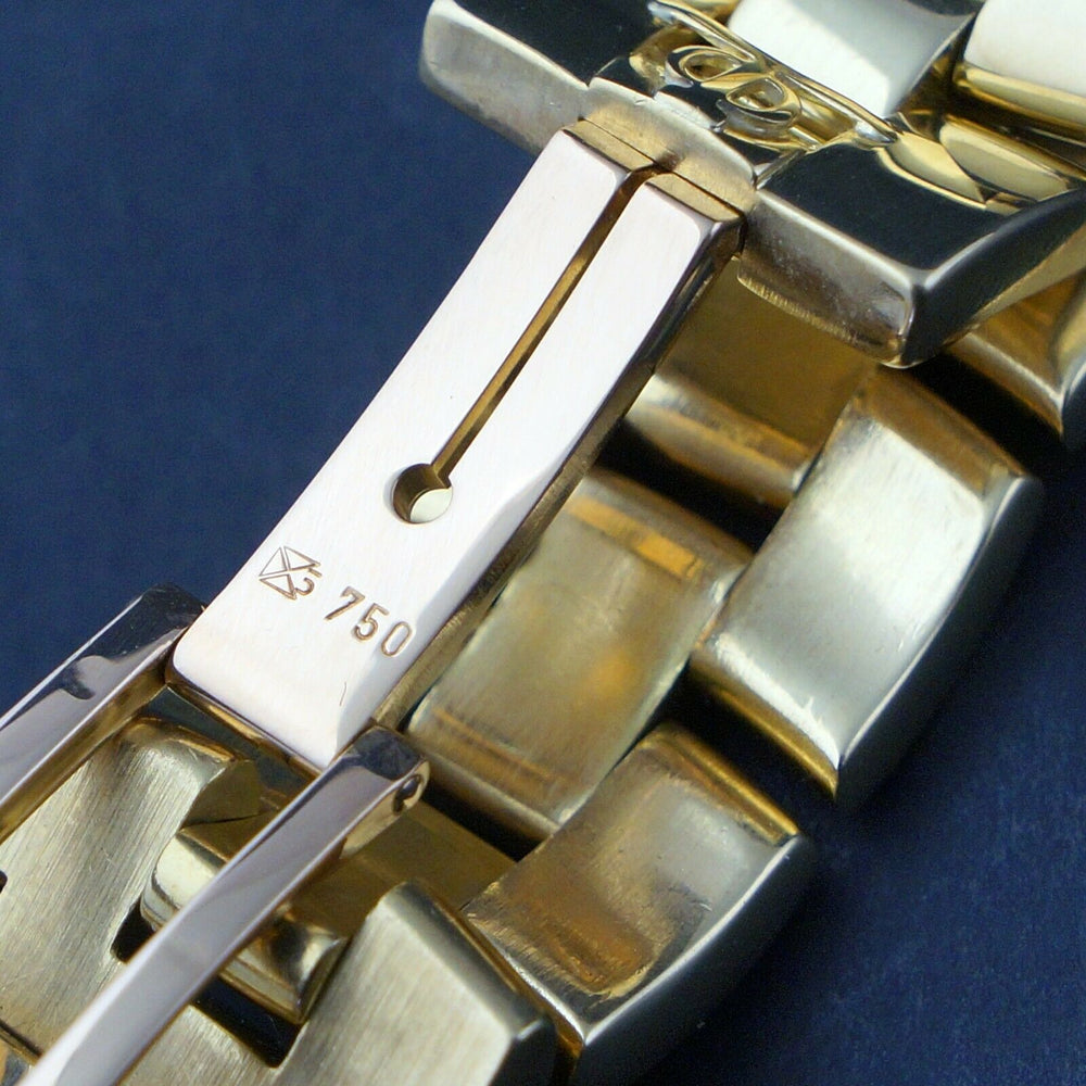 Baume & Mercier Hampton Mid Size 18K Yellow Gold MOP & Diamond Bracelet Watch Heavy, Solid 18K Gold