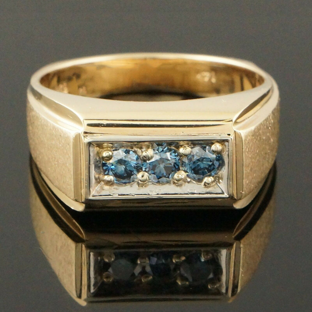 Unusual Solid 14K Yellow Gold, .80 CTTW Blue Diamond Gentleman's Estate Ring