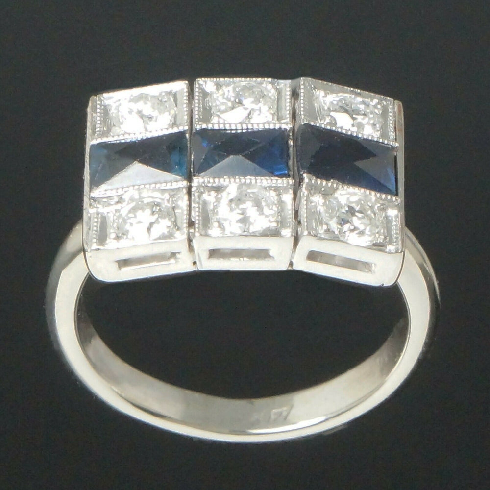 C-1930's Art Deco Platinum, 14K White Gold, Diamond & Sapphire, Estate Ring Santa Rosa CA Olde Towne