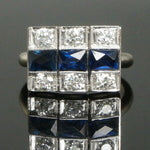 C-1930's Art Deco Platinum, 14K White Gold, Diamond & Sapphire, Estate Ring Santa Rosa CA Olde Towne Jewelers