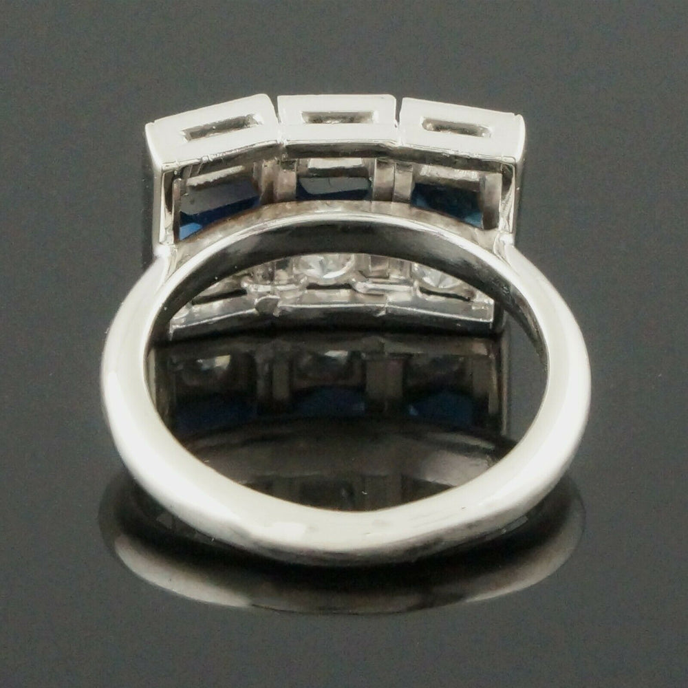 C-1930's Art Deco Platinum, 14K White Gold, Diamond & Sapphire, Estate Ring CA Olde Towne Jewelers