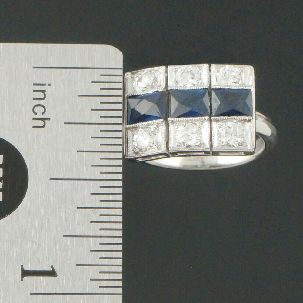 C-1930's Art Deco Platinum, 14K White Gold, Diamond & Sapphire, Ring