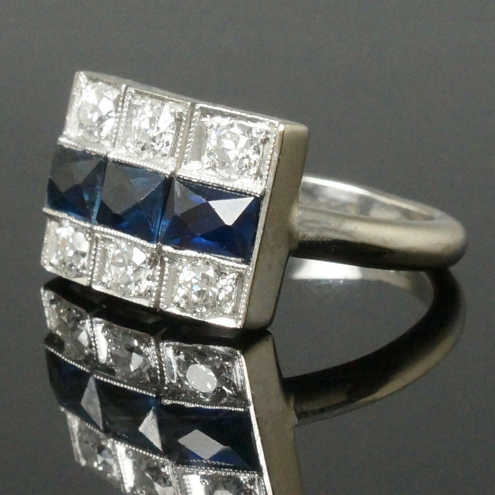 C1930's Art Deco Platinum, 14K White Gold, Diamond & Sapphire, Estate Ring Santa Rosa CA Olde Towne Jewelers