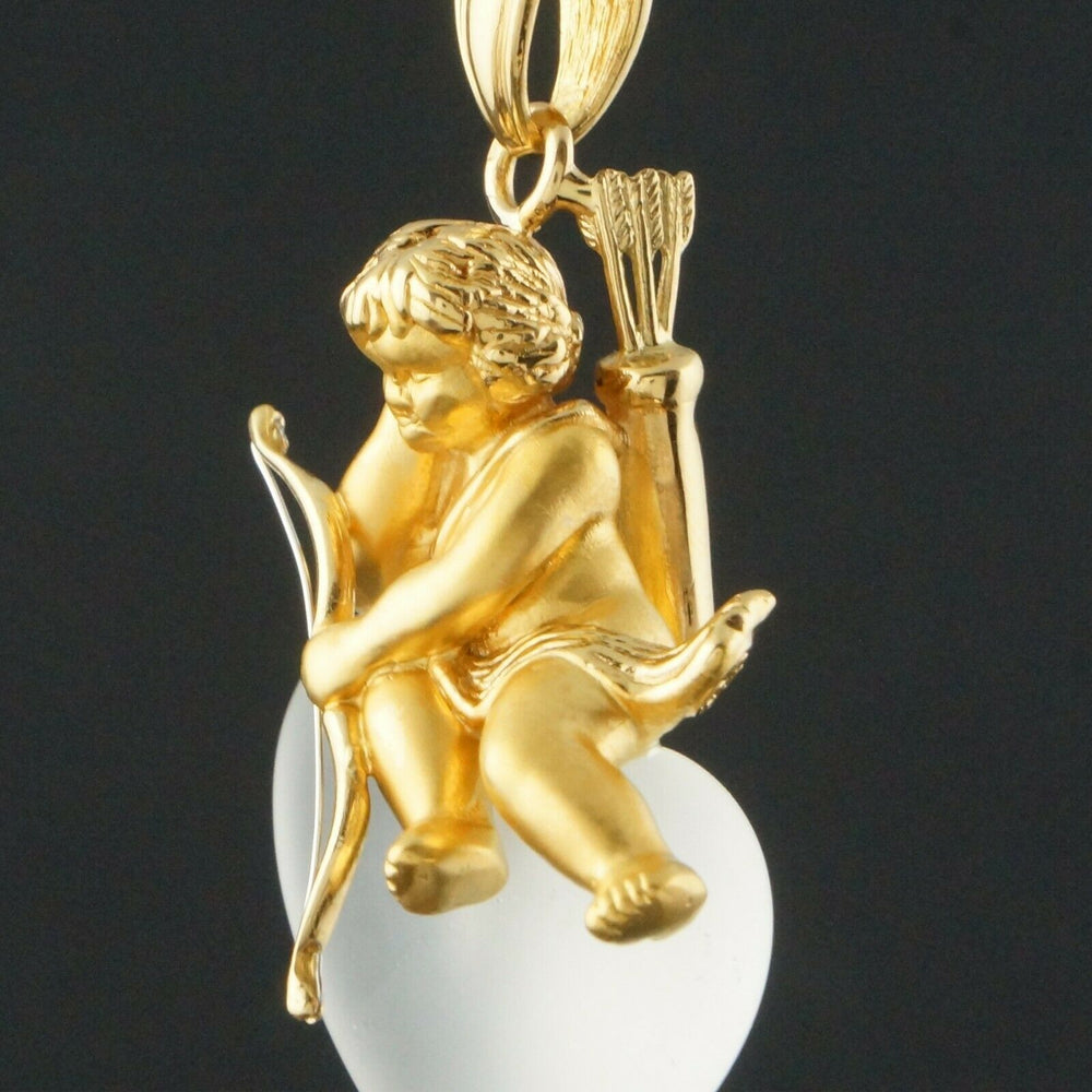 Carrera Y Carrera Solid 18K Gold Cupid, Frosted Crystal Heart, Pendant Olde Towne Jewelers