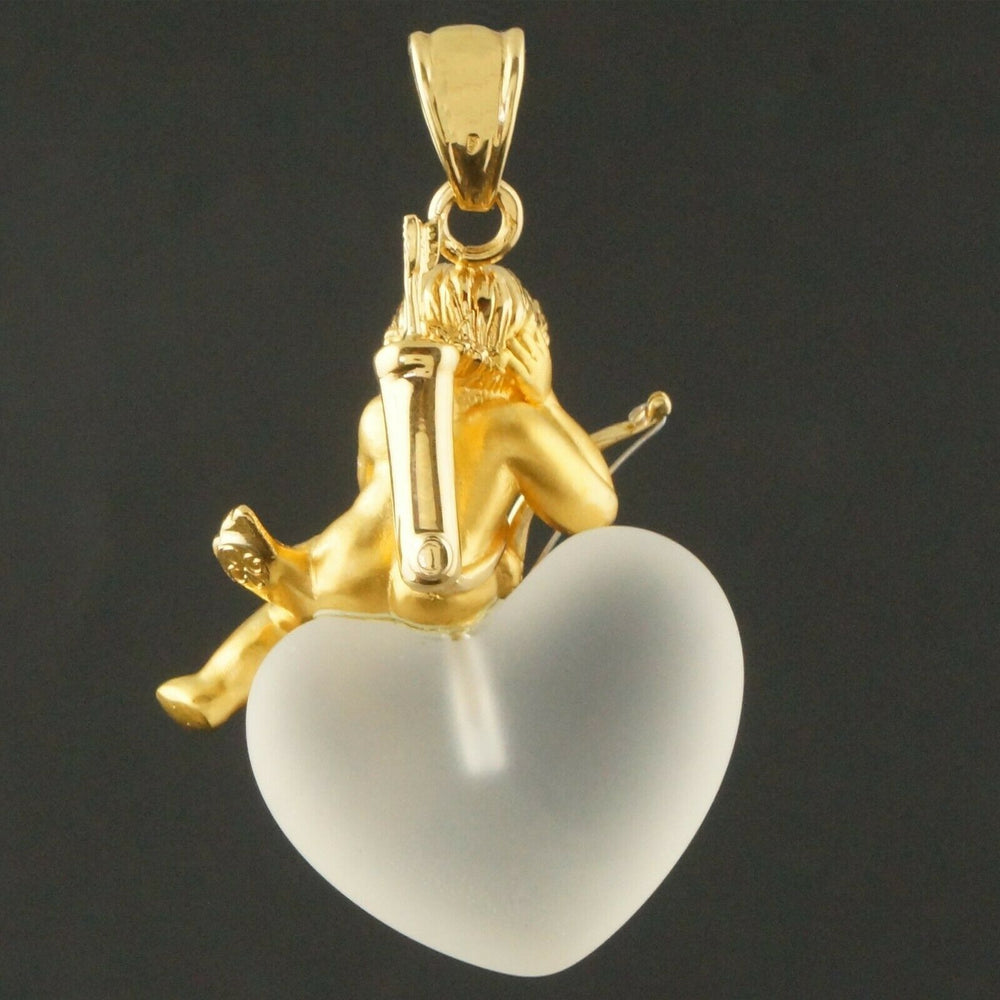 Carrera Y Carrera Solid 18K Gold Cupid, Frosted Crystal Heart, Estate Pendant