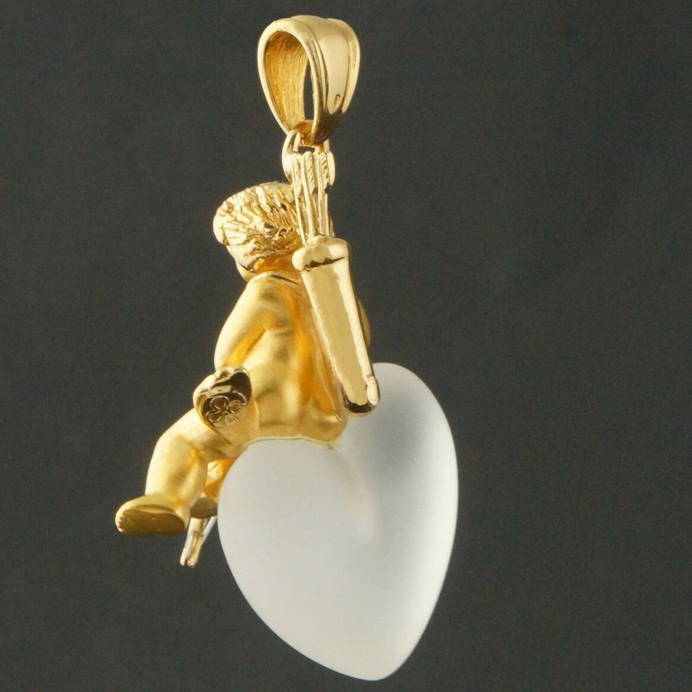 Carrera Y Carrera Solid 18K Gold Cupid, Frosted Crystal Heart, Pendant Olde Towne Jewelers CA