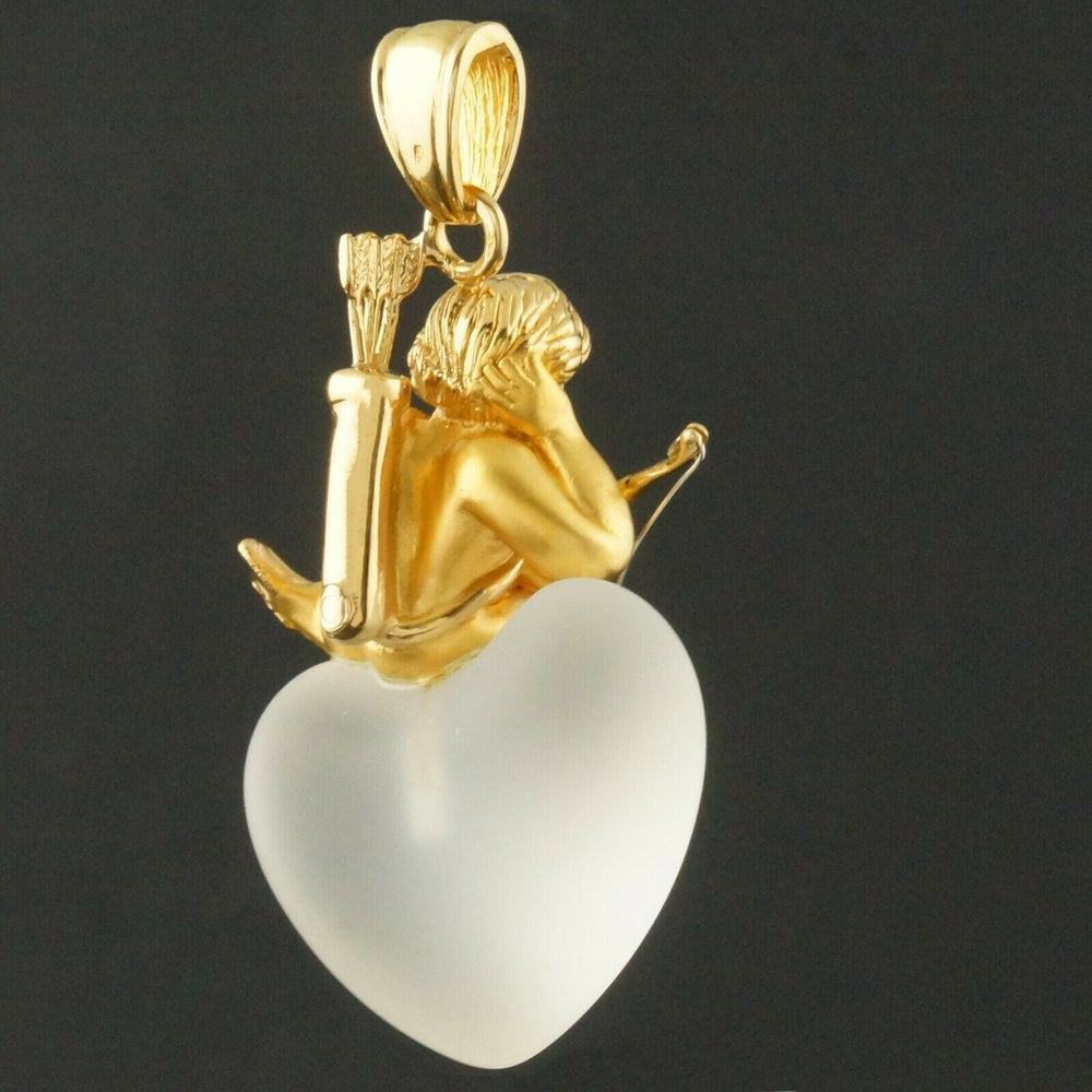 Carrera Y Carrera 18K Gold Cupid, Frosted Crystal Heart, Pendant Olde Towne Jewelers CA
