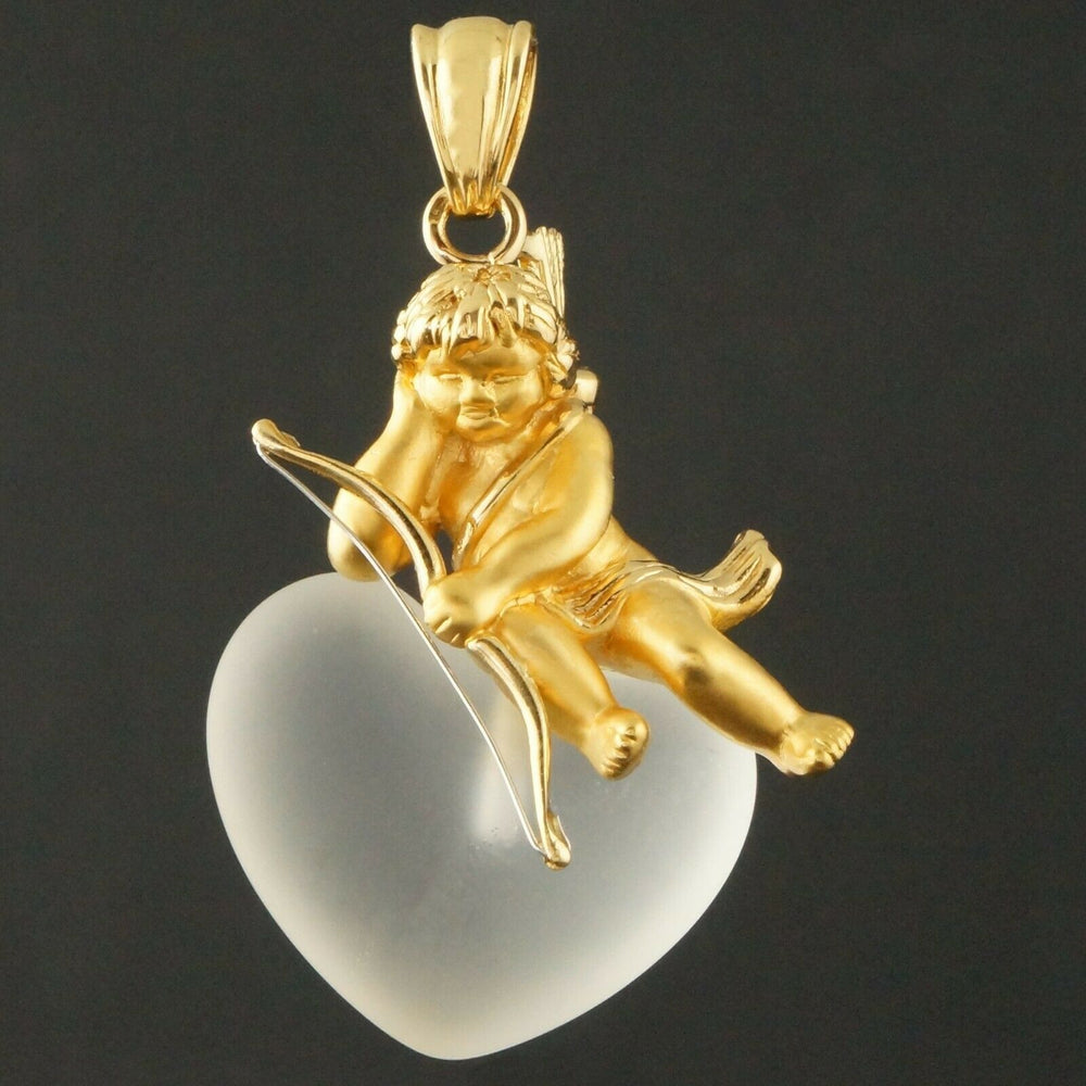 Carrera Y Carrera Solid 18K Gold Cupid, Frosted Crystal Heart, Estate Pendant Olde Towne Jewelers CA