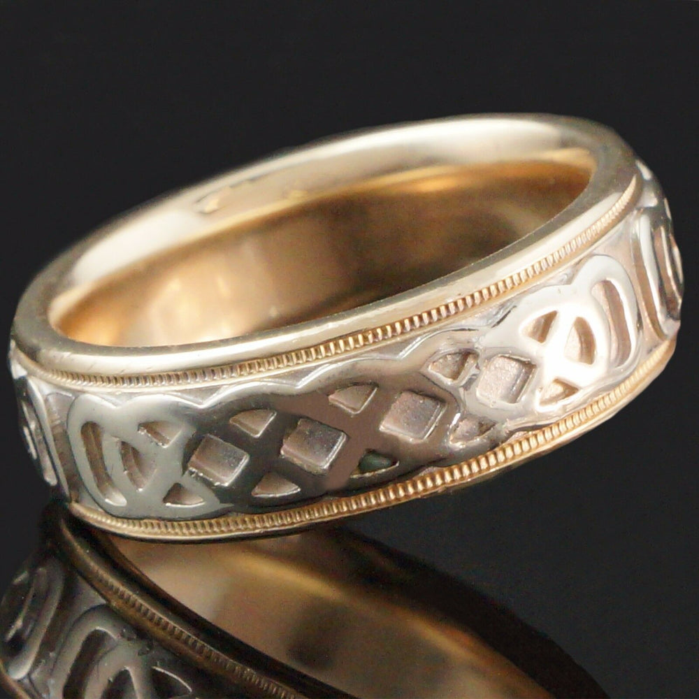 Celtic Men's Ring - Fabulous, Two Tone Solid 14K Gold Comfort Fit Celtic Man's Estate Band, Ring
