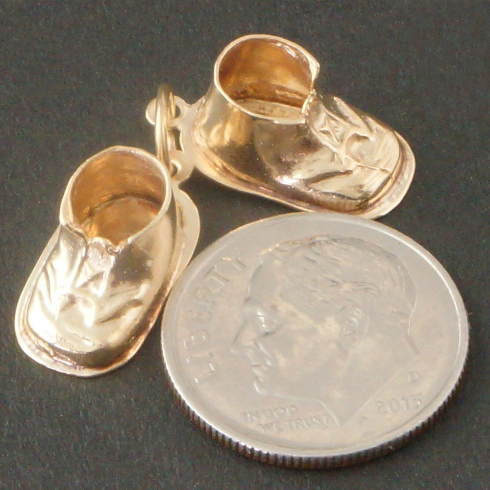 Baby Bootie Charm - Solid 14K Yellow Gold Baby Bootie, 3 Dimensional Shoes, Estate Charm, Pendant