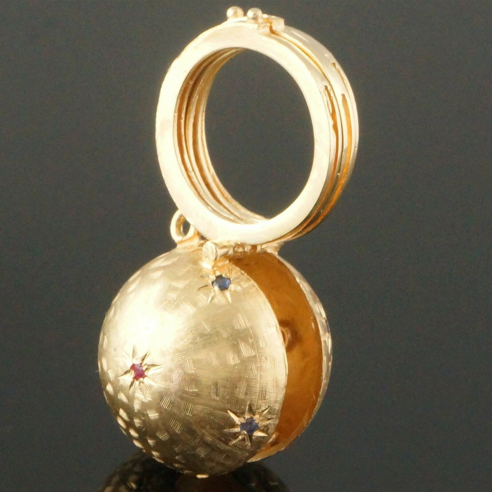 Photo Sphere Charm - Heavy Solid 14K Gold, Ruby & Sapphire Photo Globe Locket Charm Estate Pendant