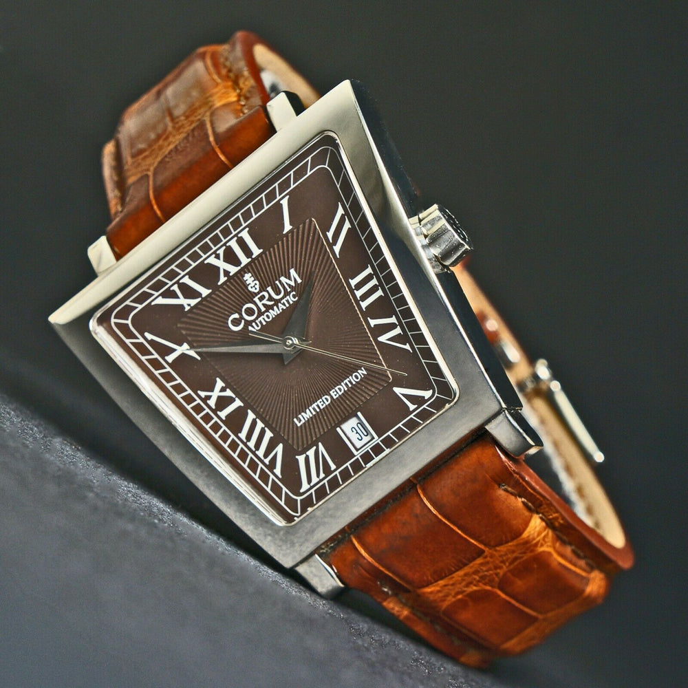HUGE Corum Trapeze Automatic Stainless Steel Watch Chocolate Dial Men's Wristwatch