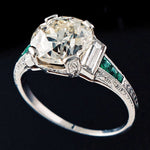 Antique Solid Platinum, 2.83 Ct. Center, 3.21 Cttw. Diamond & .12 Ct. Emerald Engagement Ring