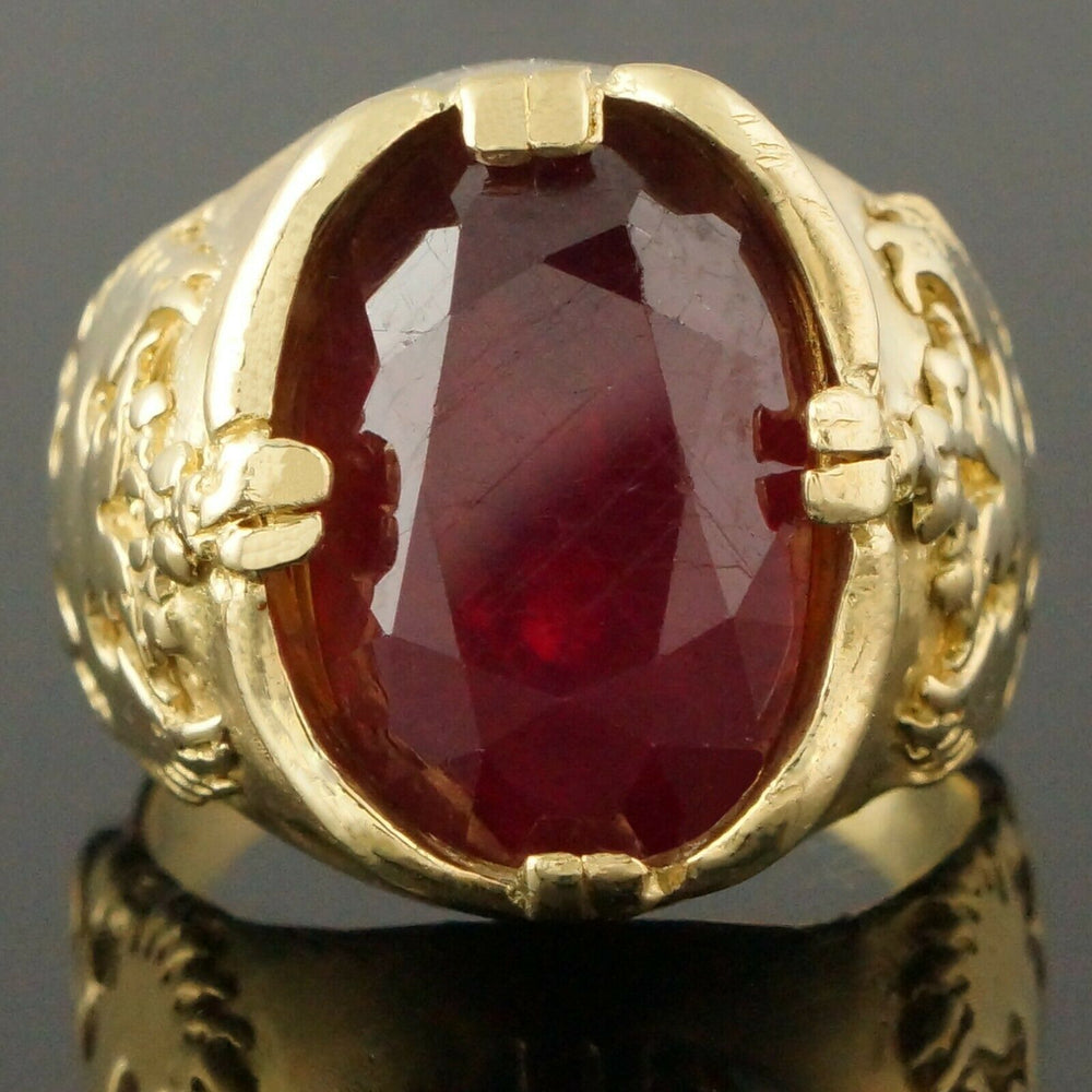 Massive Custom Double-Headed Eagle Solid 18K Yellow Gold & Ruby Estate Ring