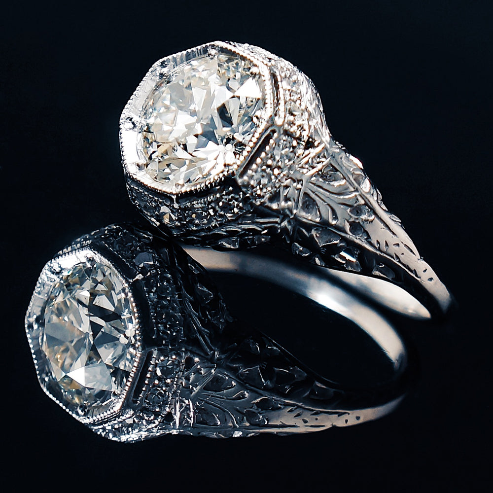 Edwardian Platinum, 2.08 Ct. Center , 2.30 Cttw. Old European Cut Diamond Engagement Ring