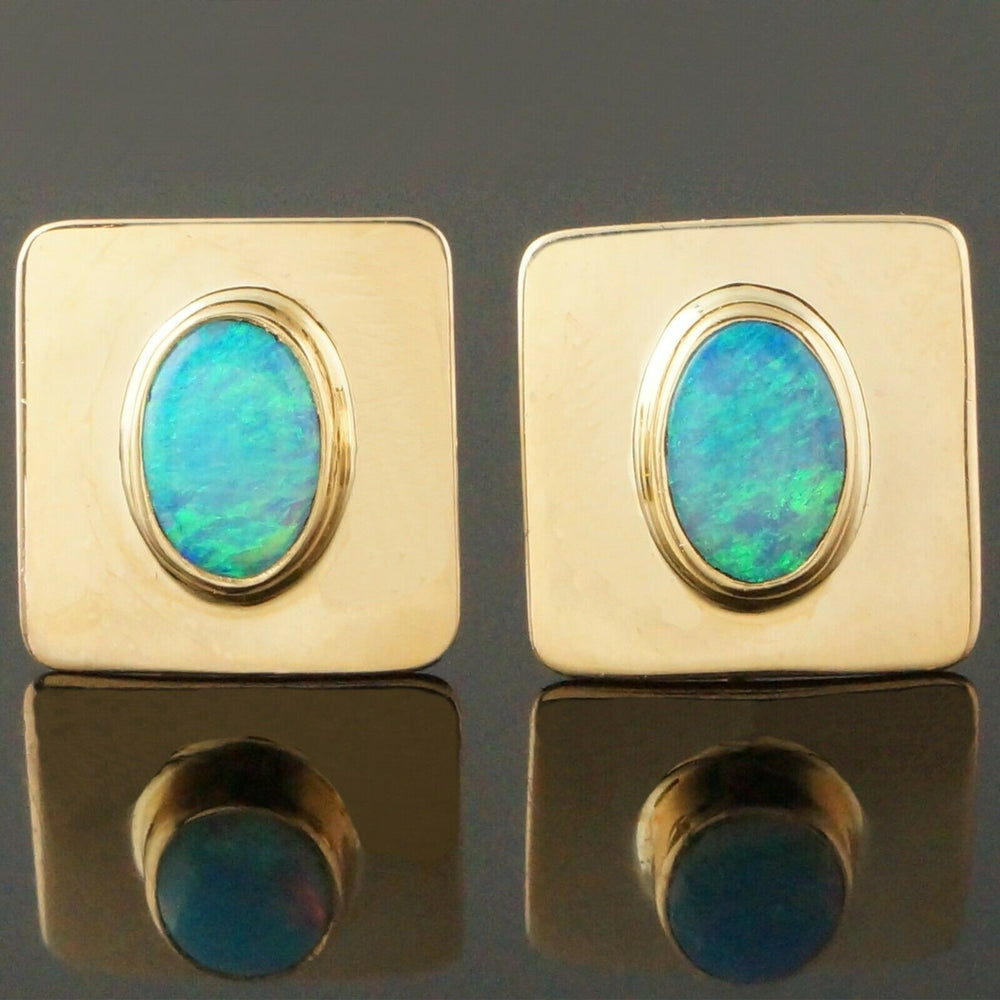 Shay Solid 14K Yellow Gold & Oval Opal Cabochon, Square Estate Earrings