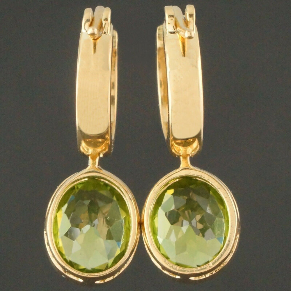 Solid 18K Yellow Gold & 4.26 Cttw Peridot, Drop Dangle Latchback Hoop Earrings