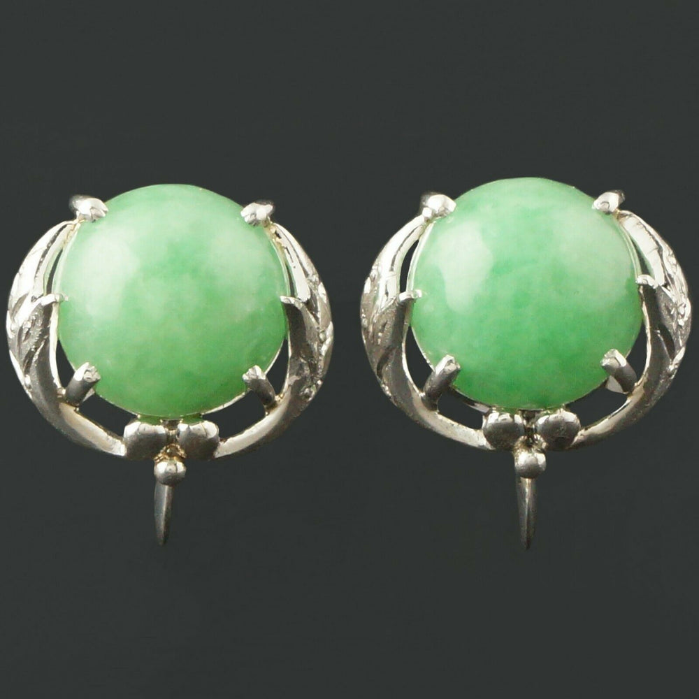 Elegant Platinum & Apple Jade Leaf Estate Earrings