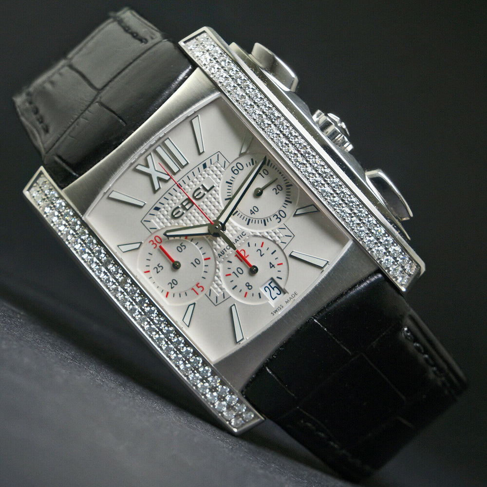 Huge Ebel Brasilia 9126M5S Stainless Diamond Dial Chronograph Automatic Watch
