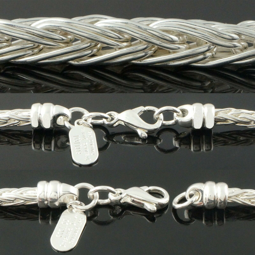 "Ecclissi Sterling Silver Graduated Braided Weave Wheat Chain 17"" Necklace Santa Rosa"