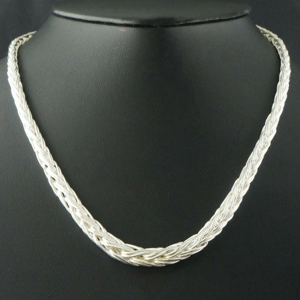 "Ecclissi Sterling Silver Graduated Braided Weave Wheat Chain 17"" Necklace"