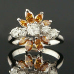 Solid 14K Gold 1.62 CTTW Fancy Vivid Yellow Brown & White Diamond Estate Ring