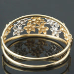 Two Tone 14K Gold, Plumeria Flower Hinged Filigree Bangle Bracelet, Italy