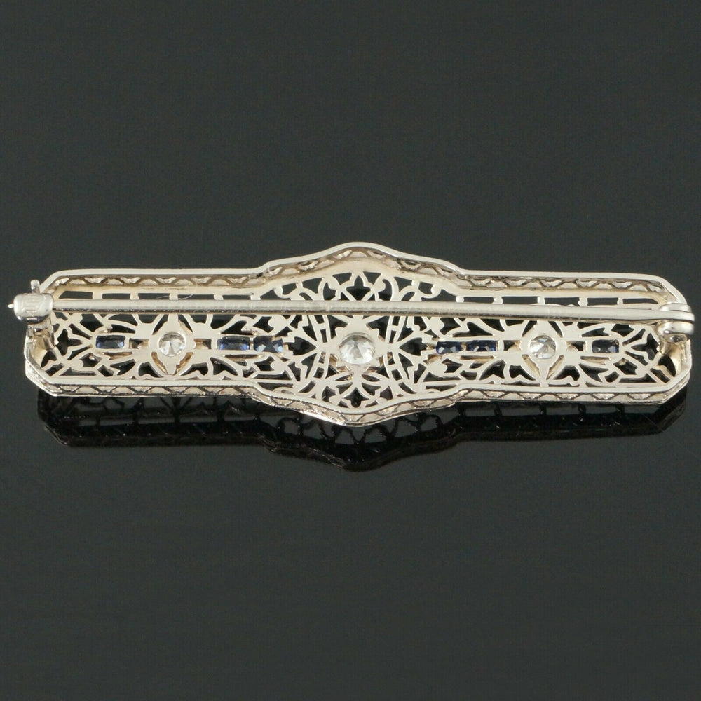 Art Deco Sapphire And Diamond Filigree Brooch Circa 1920 Solid 14K White Gold, Sapphire & Diamond Filigree Pin