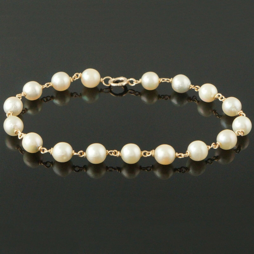 "Elegant Solid 14K Yellow Gold & 6.8mm Freshwater Pearl Bead Estate 8"" Bracelet"