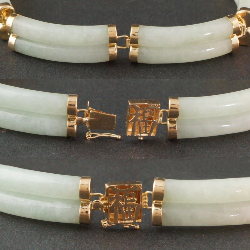 Solid 14K Yellow Gold, Green Jade Chinese Symbol Happiness Double Link Bracelet