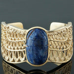 Rare Massive Solid 14K Gold & Lapis Lazuli Winged Scarab Bangle Bracelet, 67g!