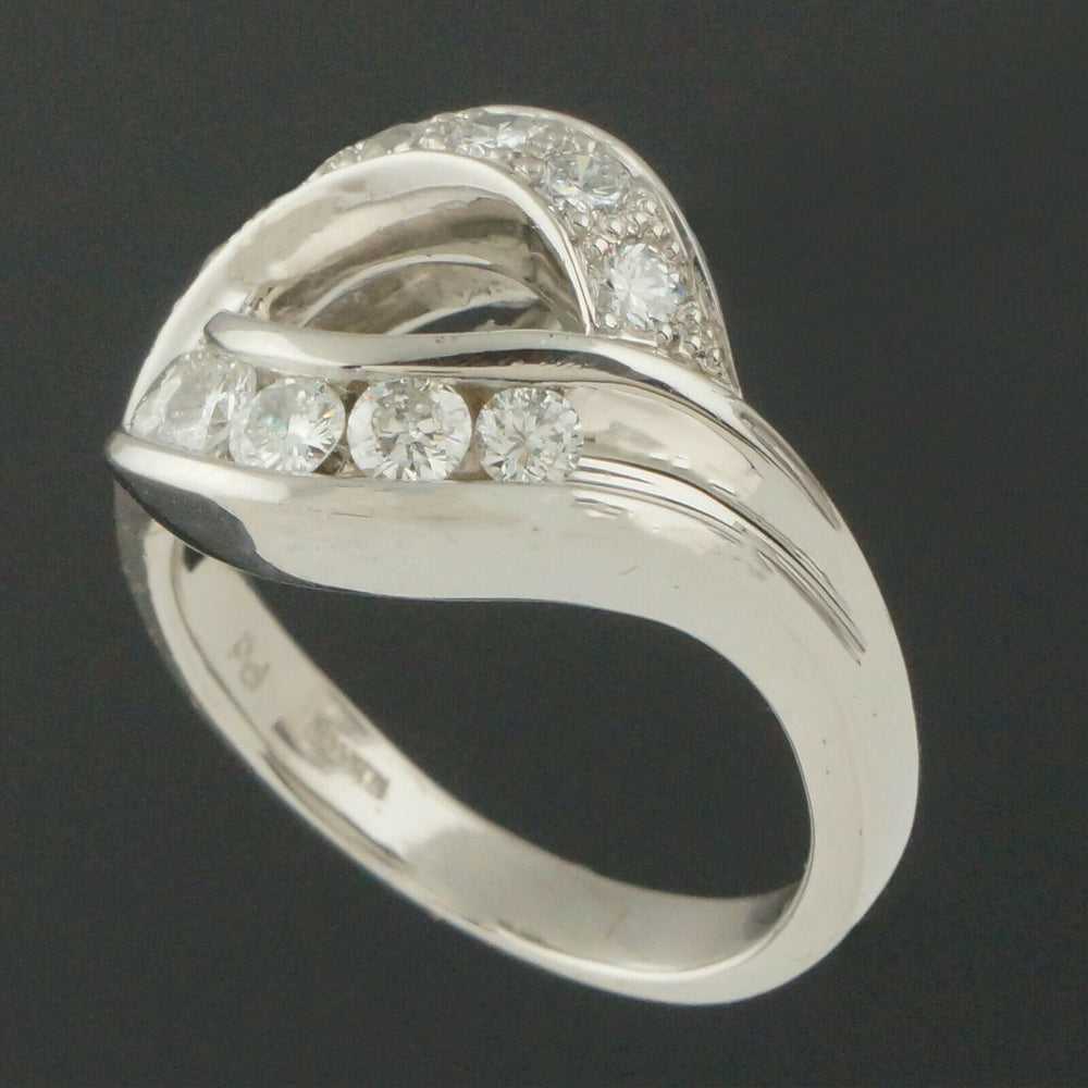 M. Devlin Platinum & Diamond, Modernist Bypass Estate Ring
