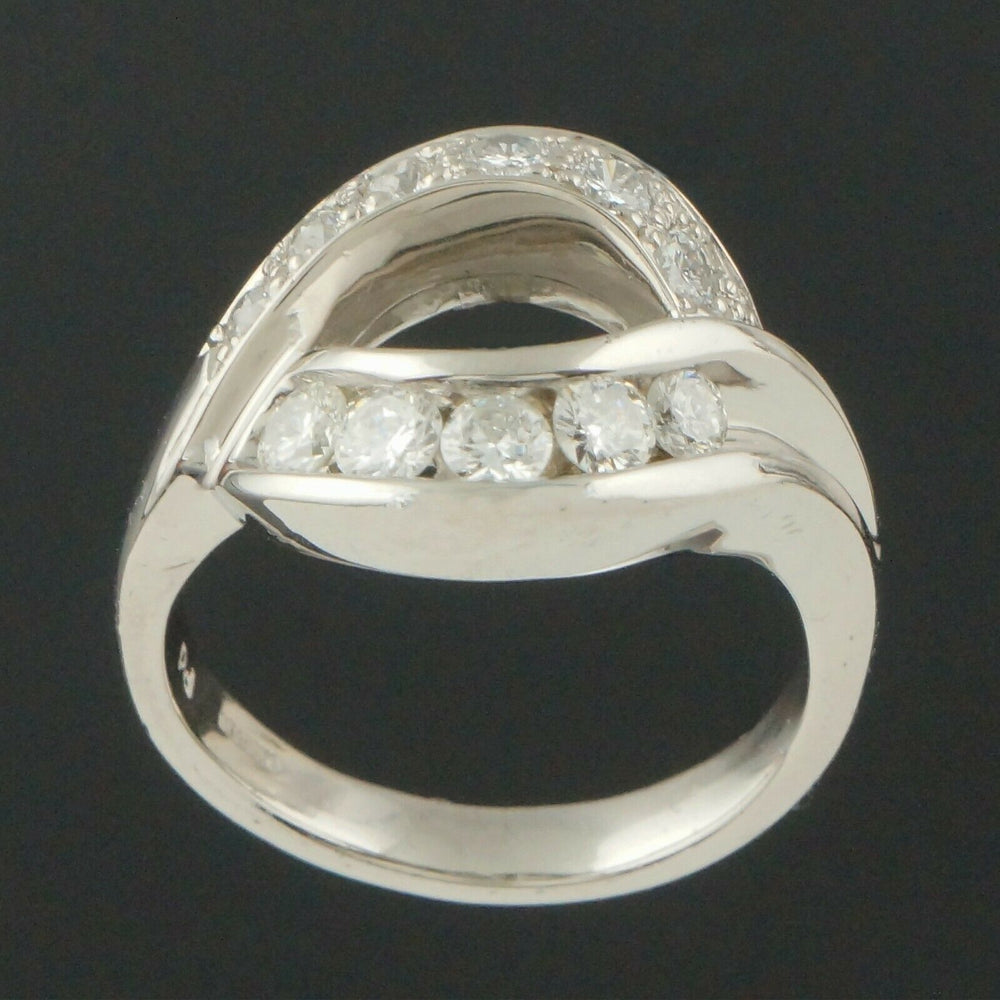 M. Devlin Platinum & .74 CTTW Diamond, Modernist Bypass Ring