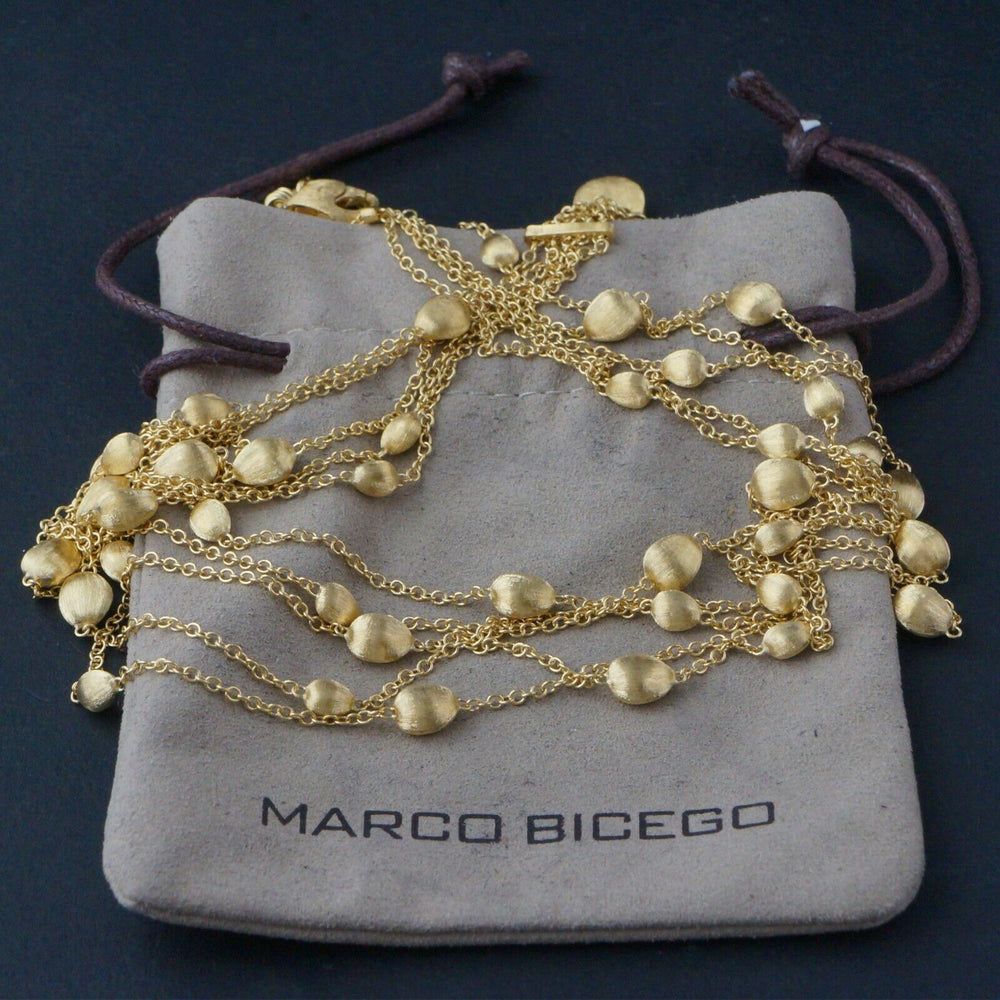 Marco Bicego Solid 18K Yellow Gold, Brushed 5 Strand Confetti Chain Necklace