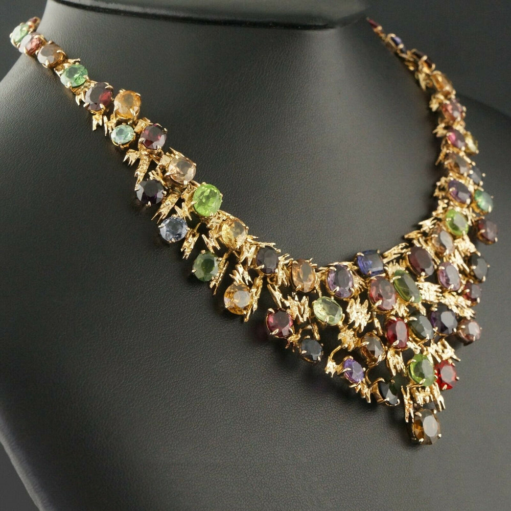 Massive Custom Mid-Century Solid 14K Gold, 80 CTW Multi Gemstone 16 Choker Necklace Olde Towne Jewelers Santa Rosa CA9
