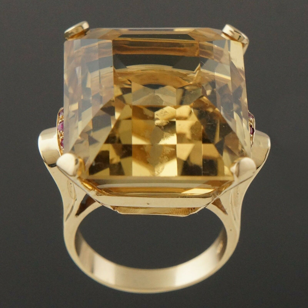 Massive Solid 14K Yellow Gold, 40 Ct Citrine & .24 CTW Ruby Estate Cocktail Ring Santa Rosa CA Olde Towne Jewelers 4
