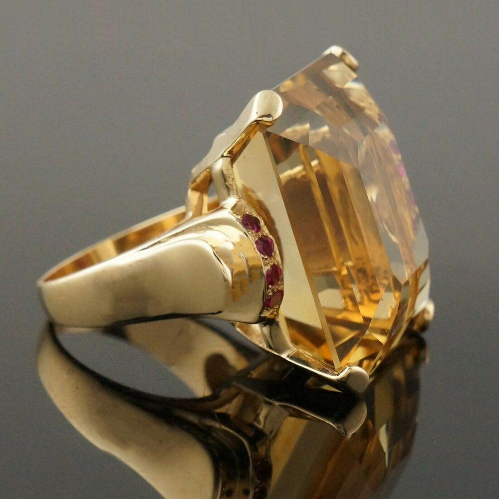 Massive Solid 14K Yellow Gold, 40 Ct Citrine & .24 CTW Ruby Estate Cocktail Ring Santa Rosa CA Olde Towne Jewelers 5