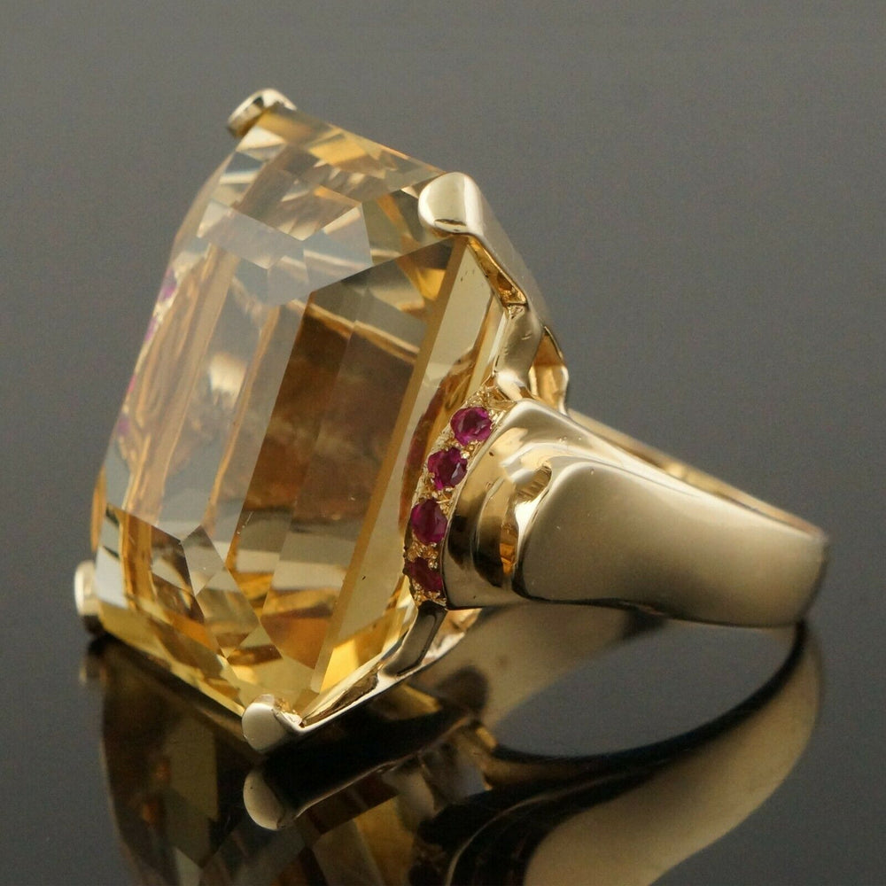 Massive Solid 14K Yellow Gold, 40 Ct Citrine & .24 CTW Ruby Estate Cocktail Ring Santa Rosa CA Olde Towne Jewelers
