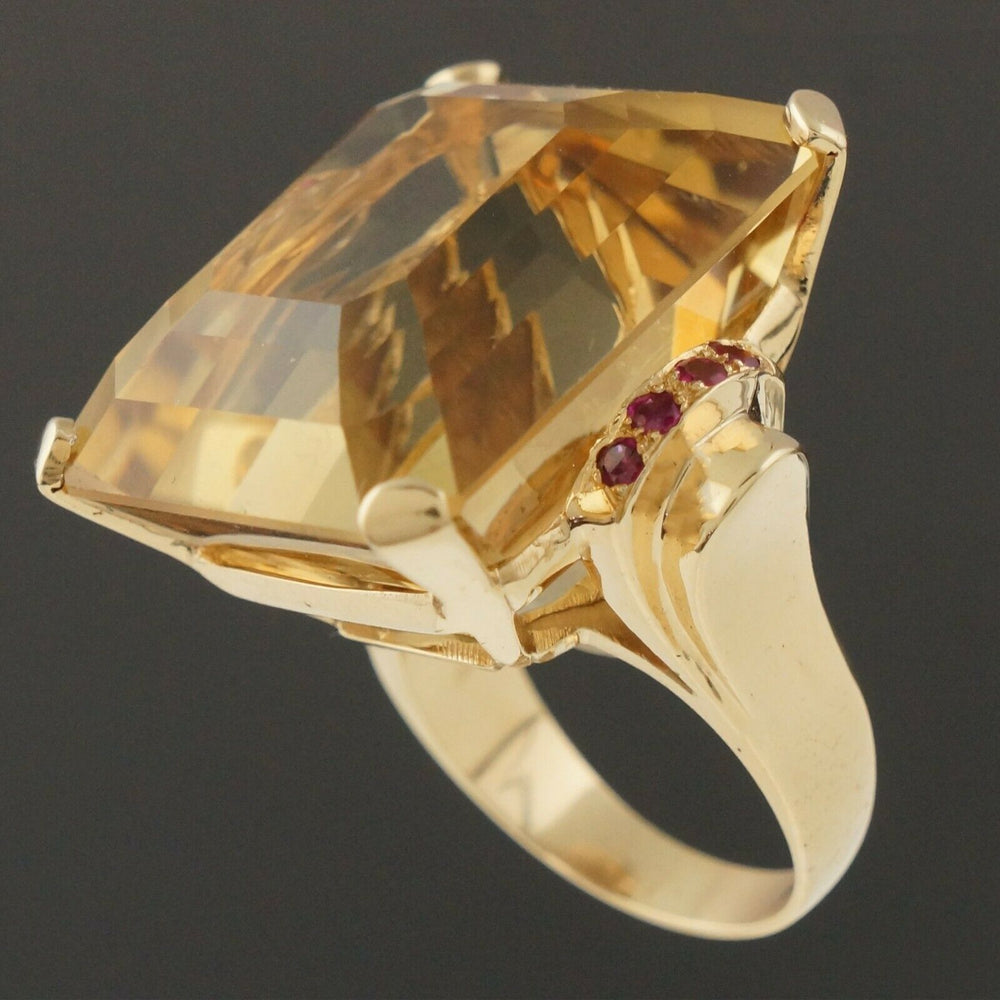 Massive Solid 14K Yellow Gold, 40 Ct Citrine & .24 CTW Ruby Estate Cocktail Ring Santa Rosa CA Olde Towne Jewelers 3