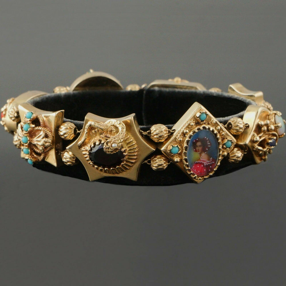 Massive Victorian Revival, Solid 14K Gold, Multi Gemstone Estate Bracelet, 47.2g
