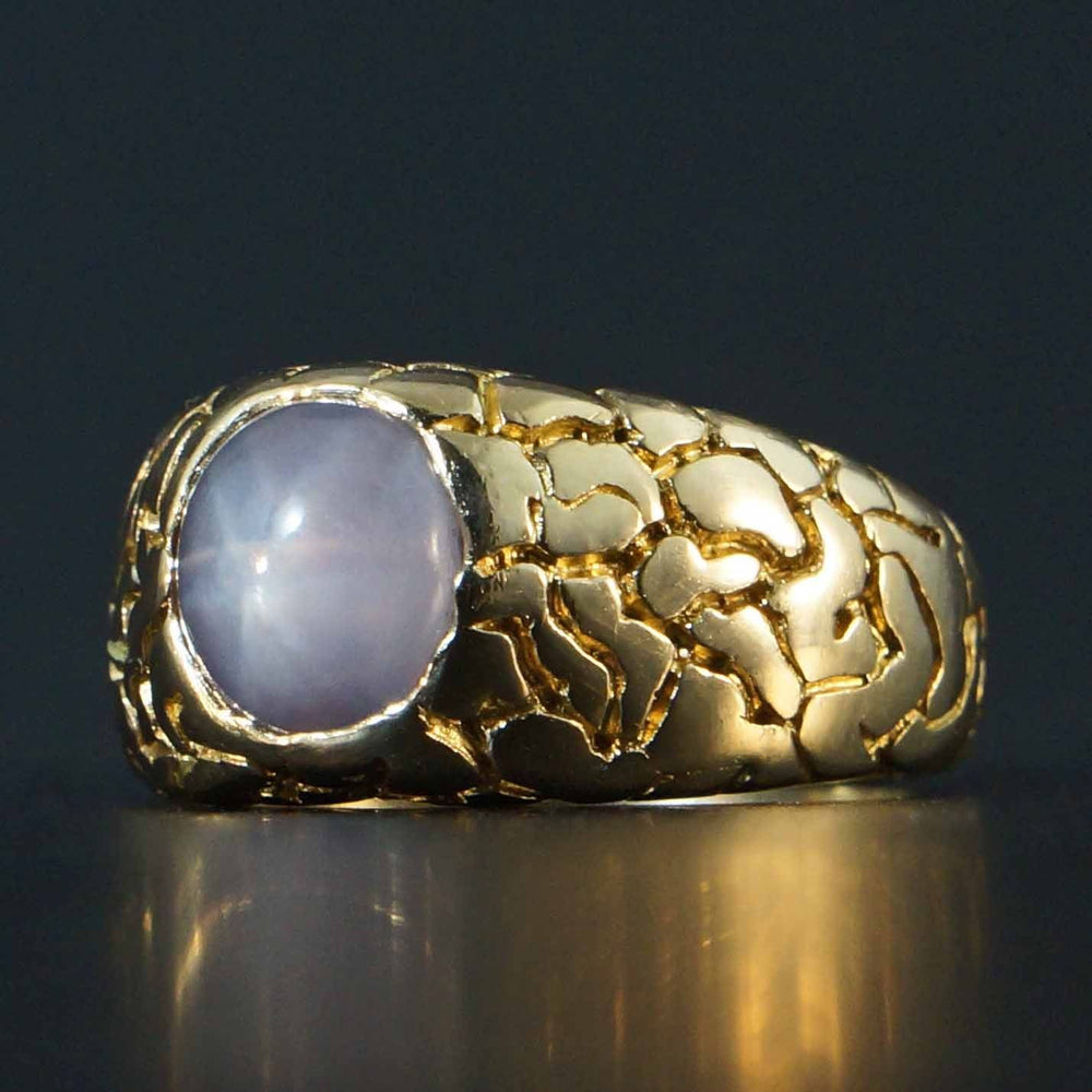Heavy, Solid 14K Yellow Gold & 3.0 ct. Light Blue Star Sapphire Nugget Mens Ring