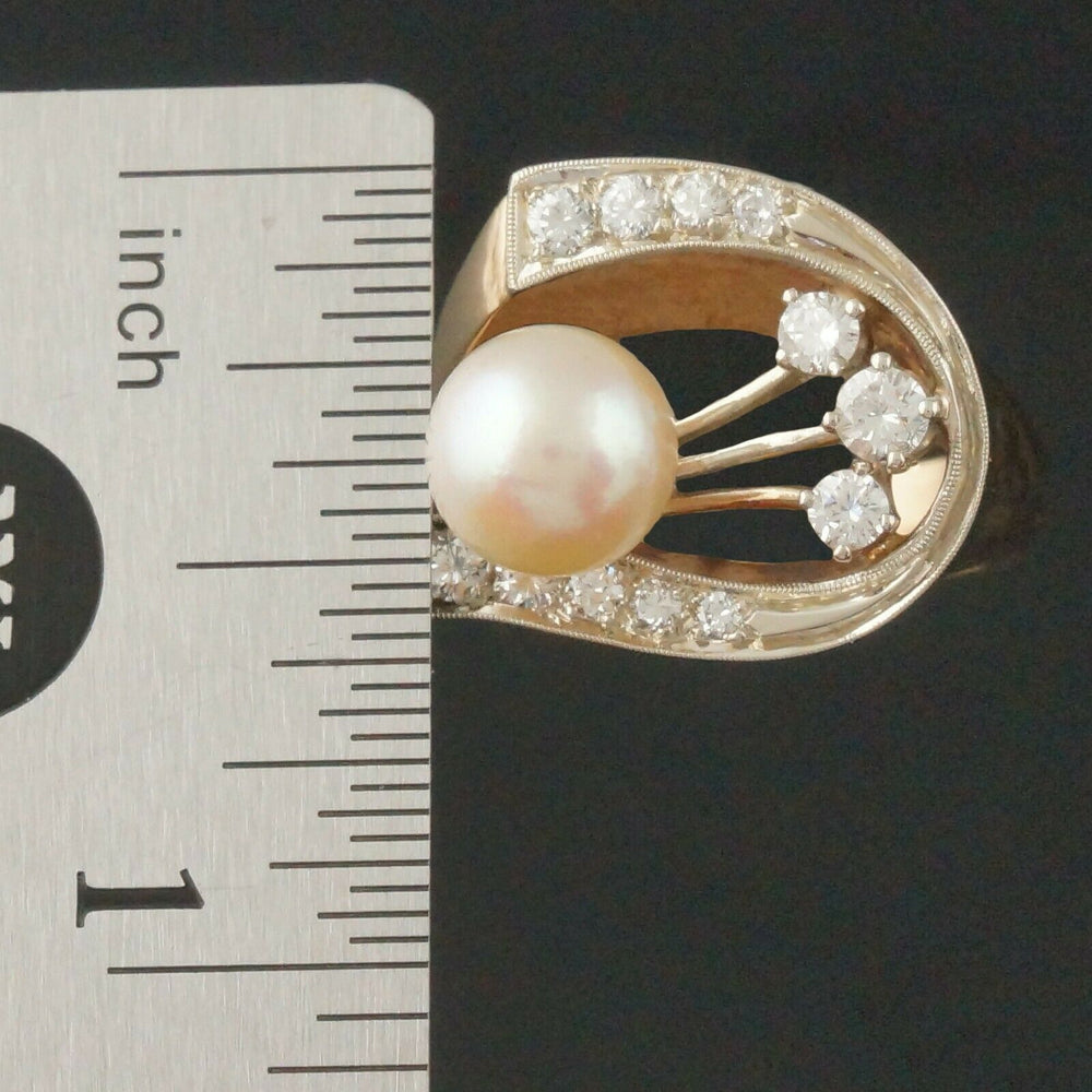 Retro Modernist Two Tone Solid 14K Gold, Pearl & Diamond Lady's Estate Ring8