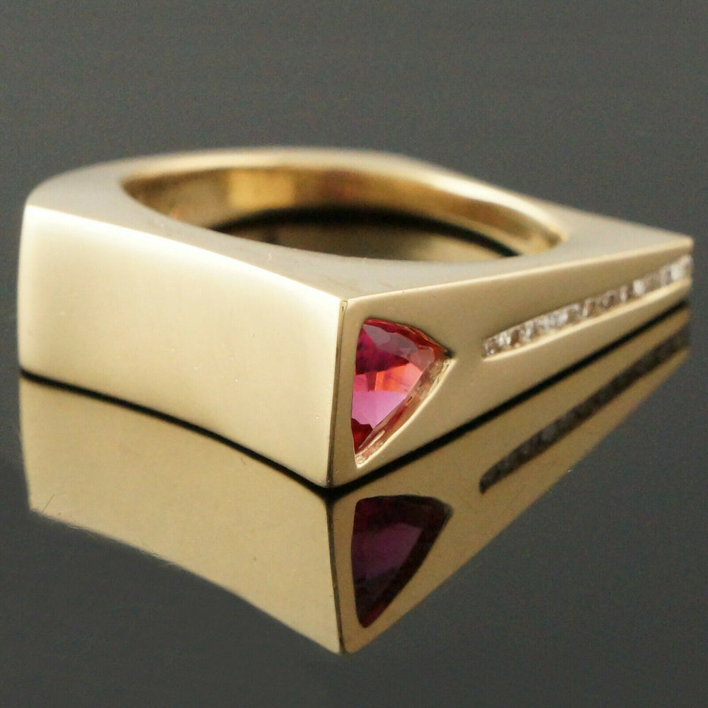 Modernist Pink Tourmaline Estate Ring Solid 14K Yellow Gold, 1.0 ct