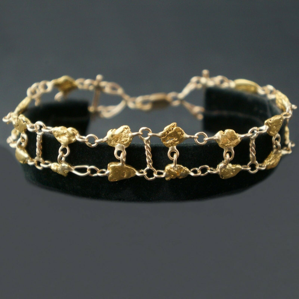 "Natural Nugget 24K & Solid 14K Yellow Gold, Link Chain, 7 1/2"" Bracelet"