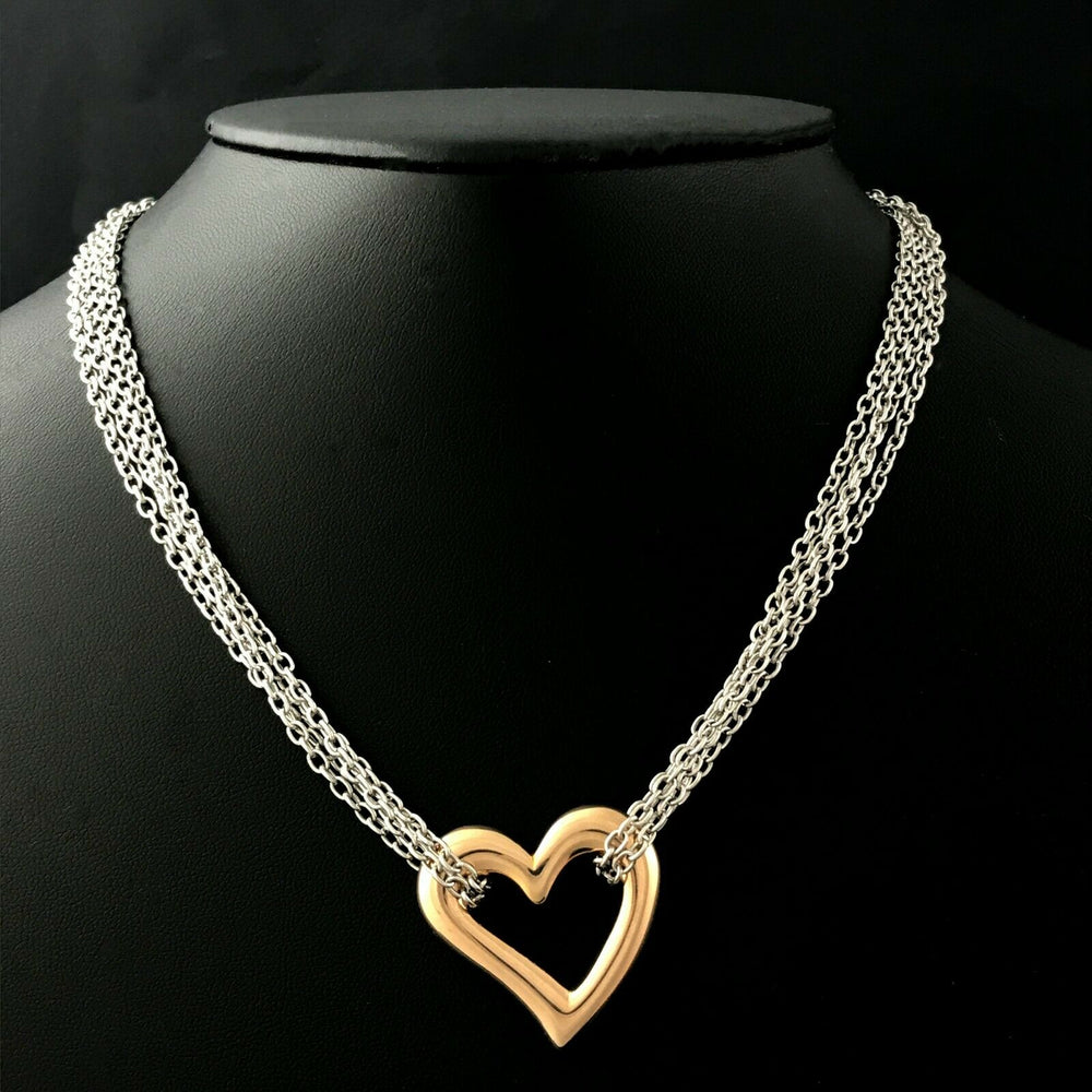 Solid 14K White & Rose Gold Floating Puffy Heart Pendant, 4 Strand Necklace