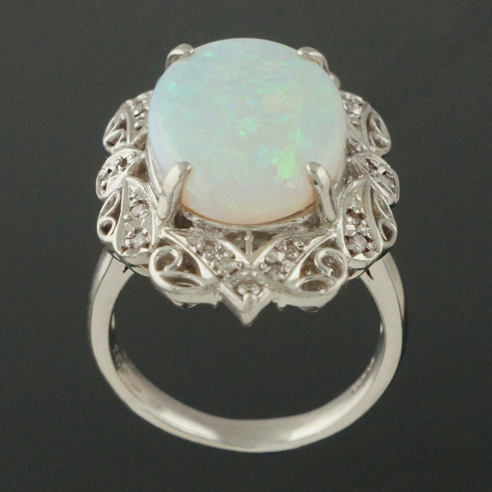 Custom Platinum 8.0 Ct Opal & .20 CTTW Diamond, Estate Filigree Cocktail Ring