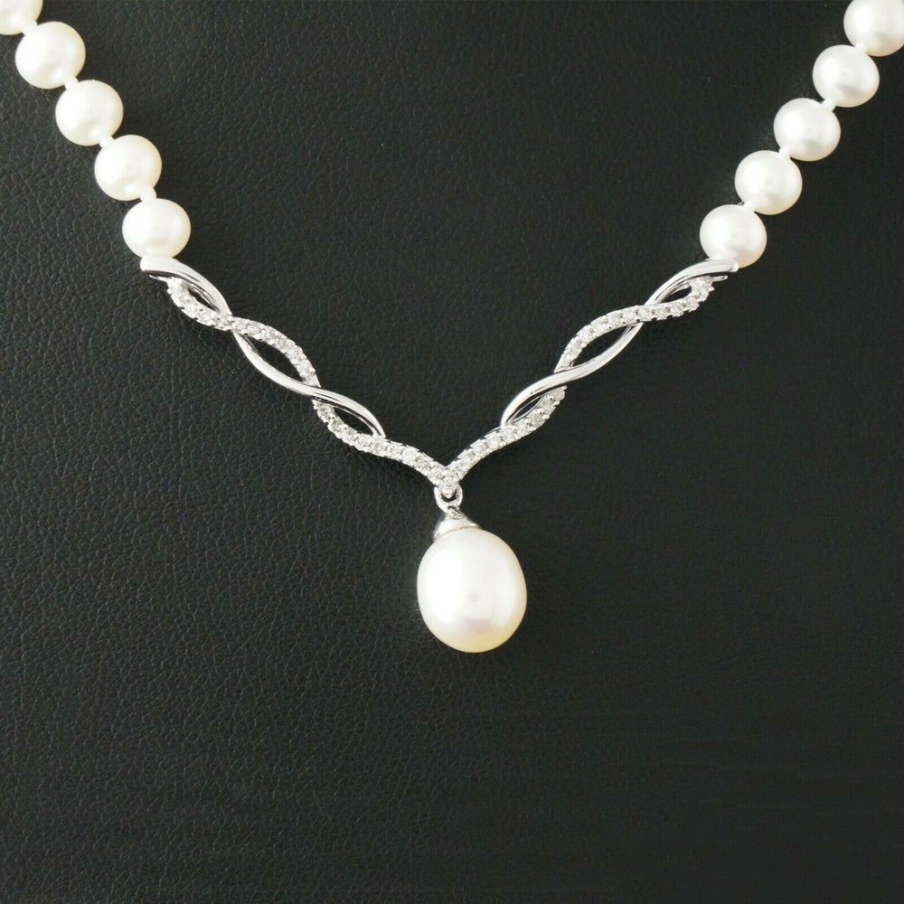 "Vintage Solid 10K White Gold, Diamond & Fresh Water Pearl Estate 17"" Necklace"