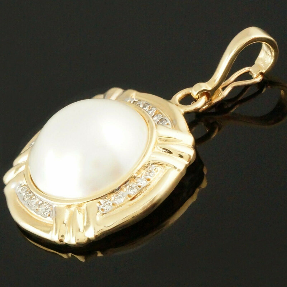 Omega Enhancer Pendant Solid 14K Yellow Gold, Mabe Pearl & Diamond Estate Pendant