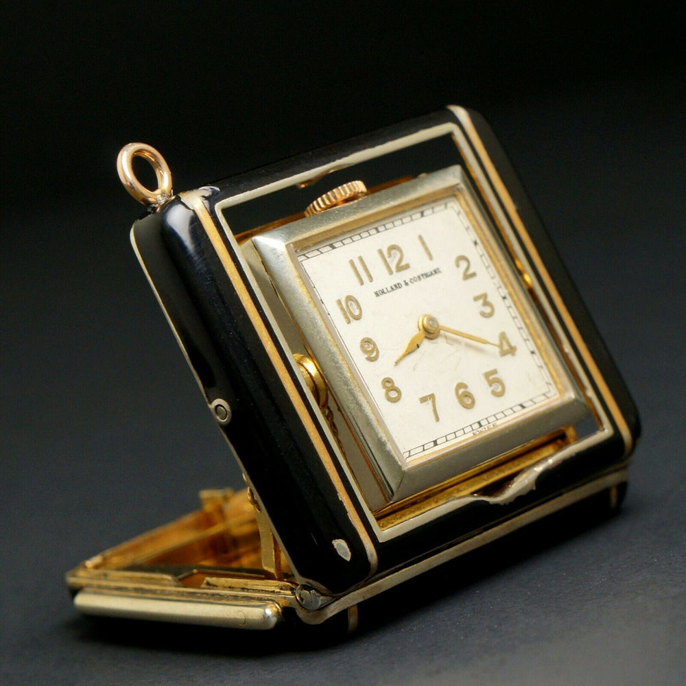 Rare Concord Art Deco Push Button Cabriolet Enamel Pendant Watch, Clock Retailer Holland & Costigane